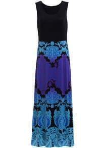 Black Blue Sleeveless Floral Maxi Tank Dress