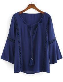 Blue Bell Sleeve Lace Hollow Loose Blouse