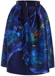 Blue High Waist Peacock Print Flare Skirt