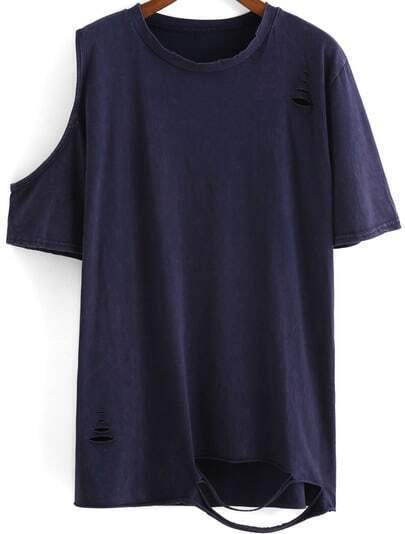 Blue Round Neck Ripped Loose T-Shirt
