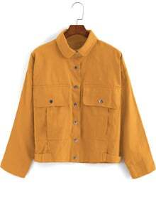 Yellow Lapel Buttons Pockets Crop Coat