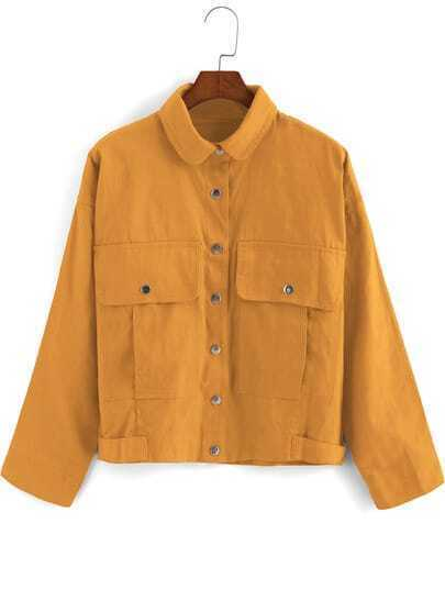 Yellow Lapel Buttons Pockets Crop Coat