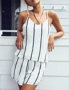 White Spaghetti Strap Vertical Striped Top With Shorts