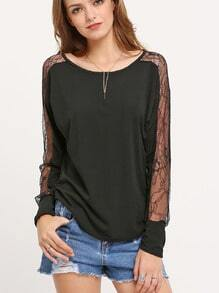 Black Long Sleeve Lace Insert Top
