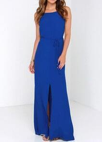 Royal Blue Spaghetti Strap Backless Split Maxi Dress