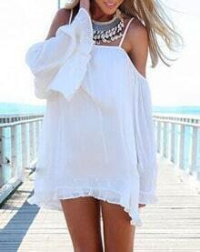 White Off The Shoulder Bell Sleeve Shift Dress