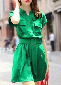 Green Stand Collar With Pockets A-Line Dress