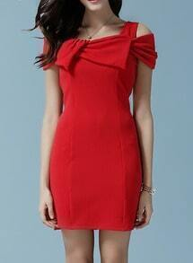 Red Open Shoulder With Bow Slim Dress