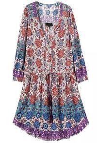 Blue V Neck Drawstring Floral Dress