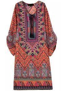 Orange Tie-neck Geometric Print Loose Dress