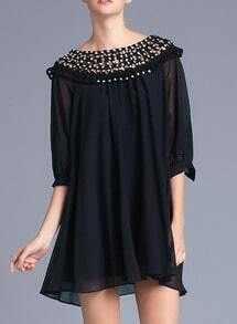 Black With Bead Hollow Chiffon Shift Dress
