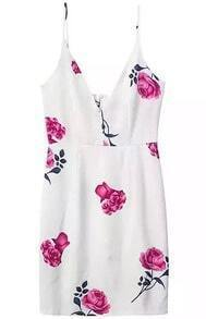 White Spaghetti Strap Backless Floral Split Dress