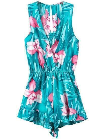 Turquoise V Neck Sleeveless Floral Slim Jumpsuit