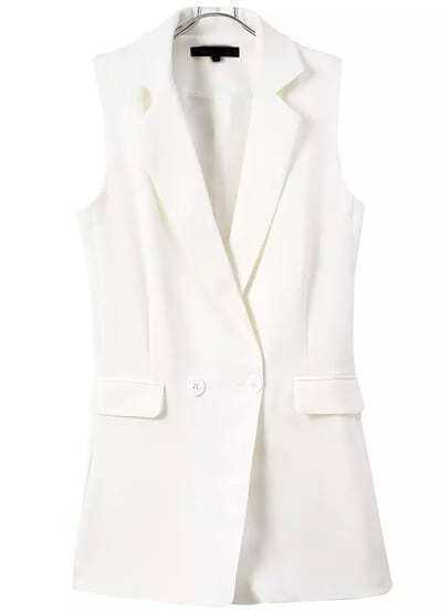 White Notch Lapel Buttons Vest Jumpsuit