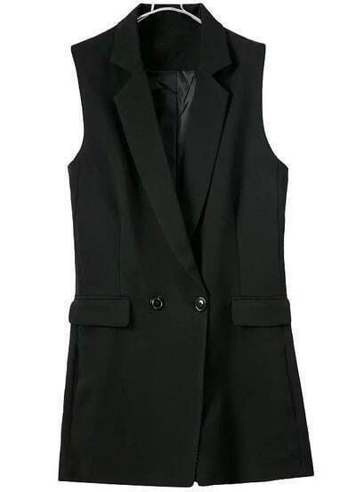 Black Notch Lapel Buttons Vest Jumpsuit