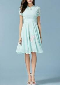 Green Stand Collar Plate Buttons Embroidered Chiffon Flare Dress