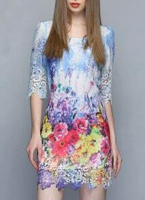 Blue Soluble Flowers Lace Dress
