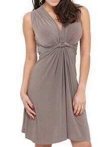 Khaki V Neck Folds Flare Dress