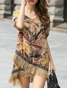 Yellow V Neck With Tassel Bird Print Wraped Dress