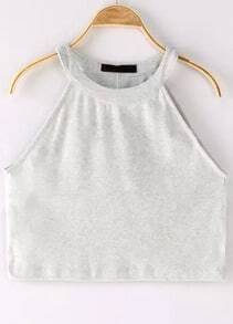Grey Halter Crop Cami Top