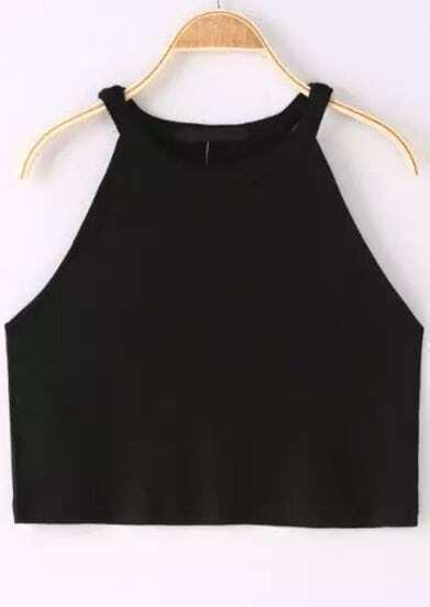 Black Halter Crop Cami Top