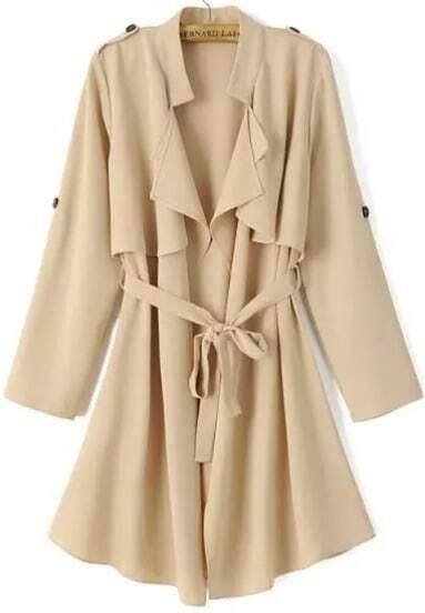 Khaki Long Sleeve Epaulet Tie-waist Trench Coat