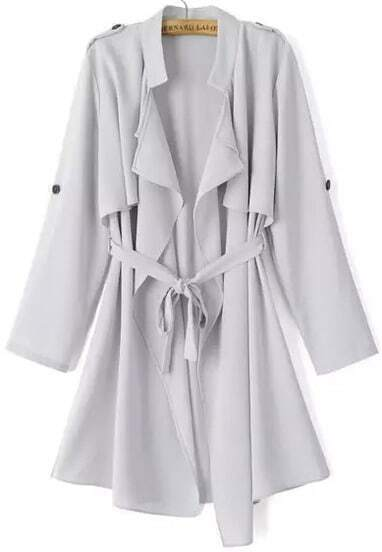 Grey Long Sleeve Epaulet Tie-waist Trench Coat