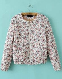 White Long Sleeve Floral Zipper Crop Coat