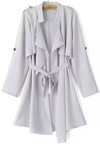 Grey Long Sleeve Epaulet Tie-waist Trench Coat