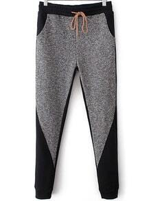 Grey Black Drawstring Waist Casual Pant