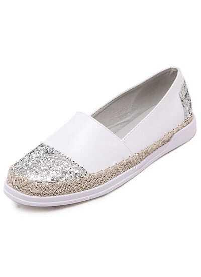 White Sparkle Round Toe Flats