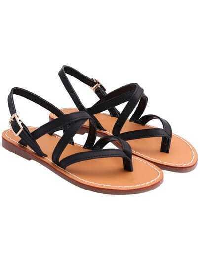 Black Buckle Strap Flat Sandals