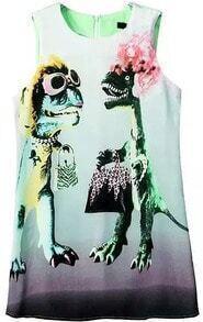 Dinosaur Print Green Dress