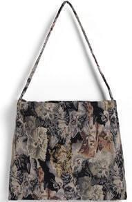 Multicolor Cat Print Shoulder Bag