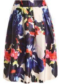 Elastic Waist Florals Pleated Skirt