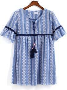 Blue Tie-neck Tribal Print Loose Dress