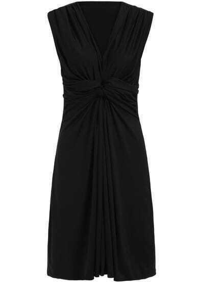 Black V Neck Sleeveless Slim Dress