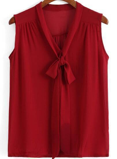 Red Tie-neck Sleeveless Chiffon Blouse