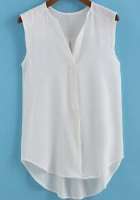 White V Neck Sleeveless Chiffon Blouse