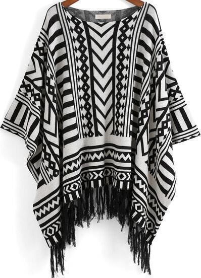 Black White Round Neck Geometric Print Tassel Top