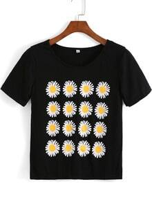 White Short Sleeve Daisy Print T-Shirt