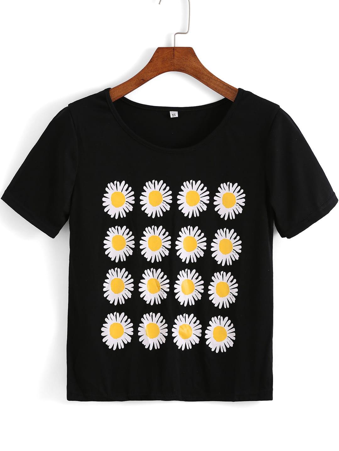 Black short sleeve daisy print t shirt shein sheinside for Who prints t shirts