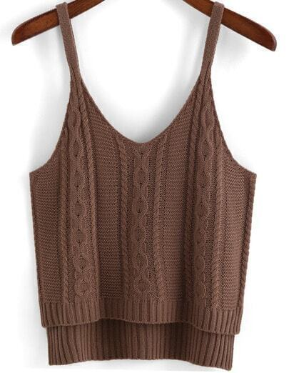 Coffee Spaghetti Strap Dip Hem Knit Cami Top