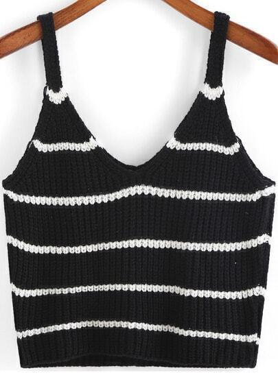 Black Spaghetti Strap Striped Knit Cami Top