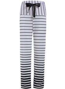 White Drawstring Waist Striped Pant