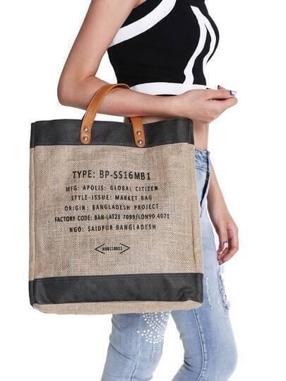 Black Letter Print Tote Bag