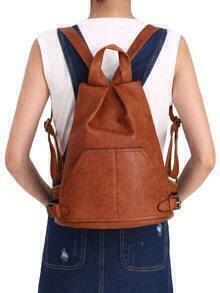 Brown With Buckle PU Backpacks