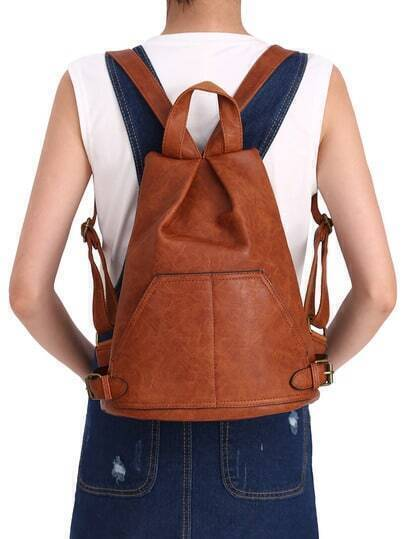 Brown With Buckle PU Backpacks