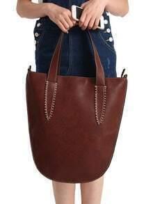 Dark Brown With Zipper PU Shoulder Bag