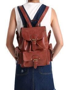 Brown Vintage With Buckle PU Backpacks